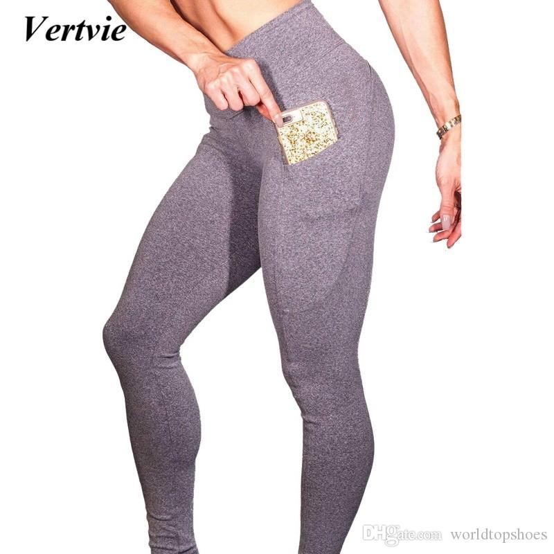 71a73bc2c5b55 2019 2018 Hot Yoga Pants With Phone Pocket Women Black Sport Leggings Push  Up Fitness Clothes Running Pants High Waist Gym Trousers #321175 From ...
