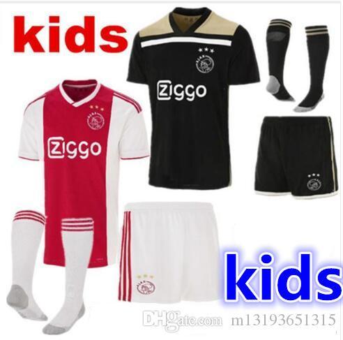 reputable site 60e25 b0ff8 new quality 2019 2020 Ajax FC Soccer Jerseys kids kits + socks 18/19 Camisa  ZIYECH TADIC HUNTELAAR DOLBERG SCHONE Jerseys Football Shirts