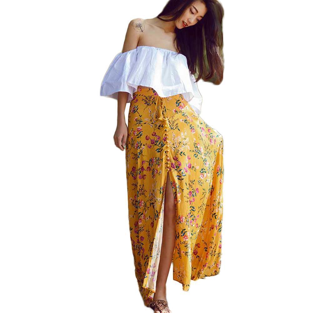 e902452c69 Compre Sexy Mujeres De Cintura Alta Boho Imprimir Falda Larga Dividida  Estampado Floral Playa Vintage Summer Falda Faldas Largas Amarillas Para  Mujer Falda ...