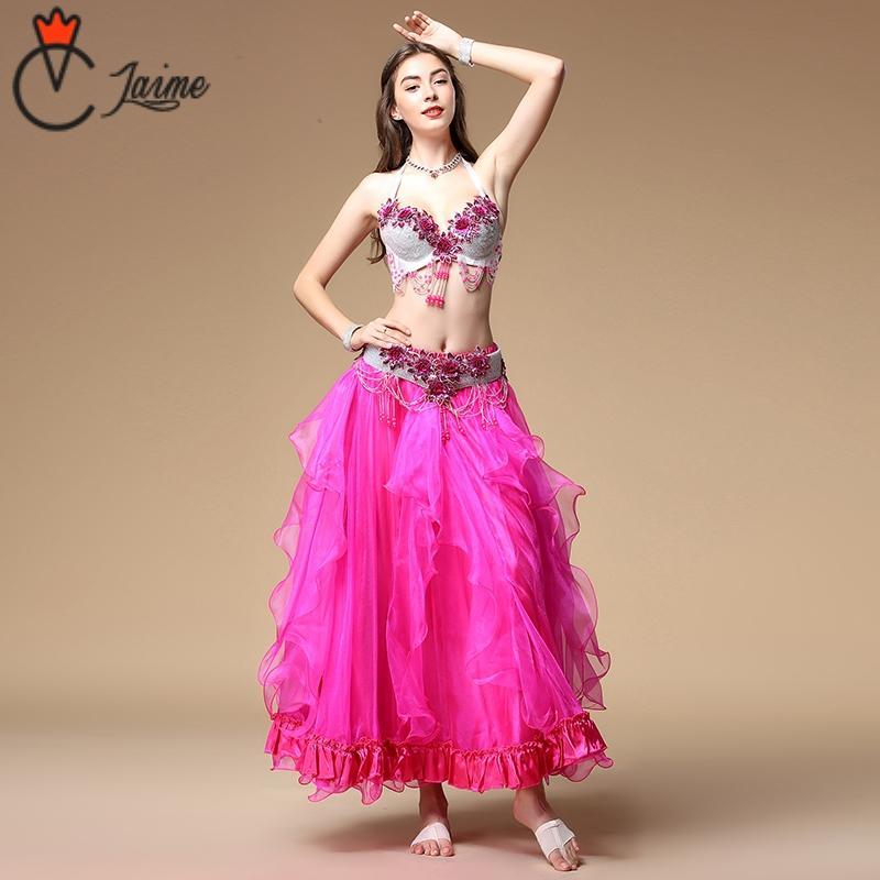 3931e431ee Compre Escenario Mujeres Baile Desgaste Egipcio Outfit Organza Faldas Danza  Del Vientre Traje Flores Sujetador Y Cinturón De Diamantes 2 Unids A  126.5  Del ...