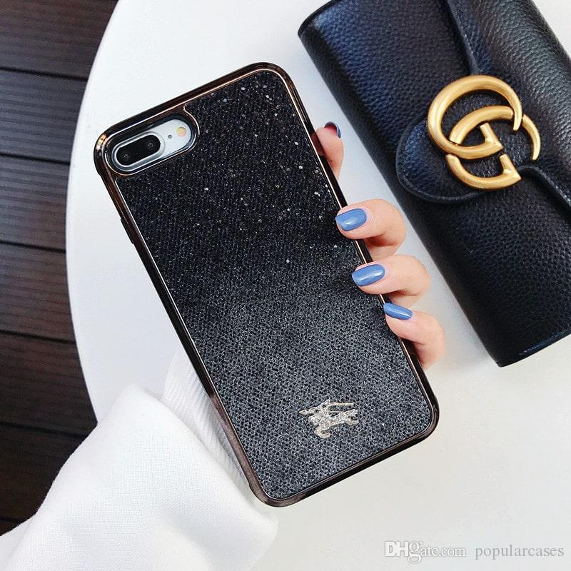 Phone Case For iPhone X 8/7/6 Plus Xs Xr Xs Max luxury Branding Designer Premium Glitter Mobile Shell Fashion Soft Sparkling Protective case