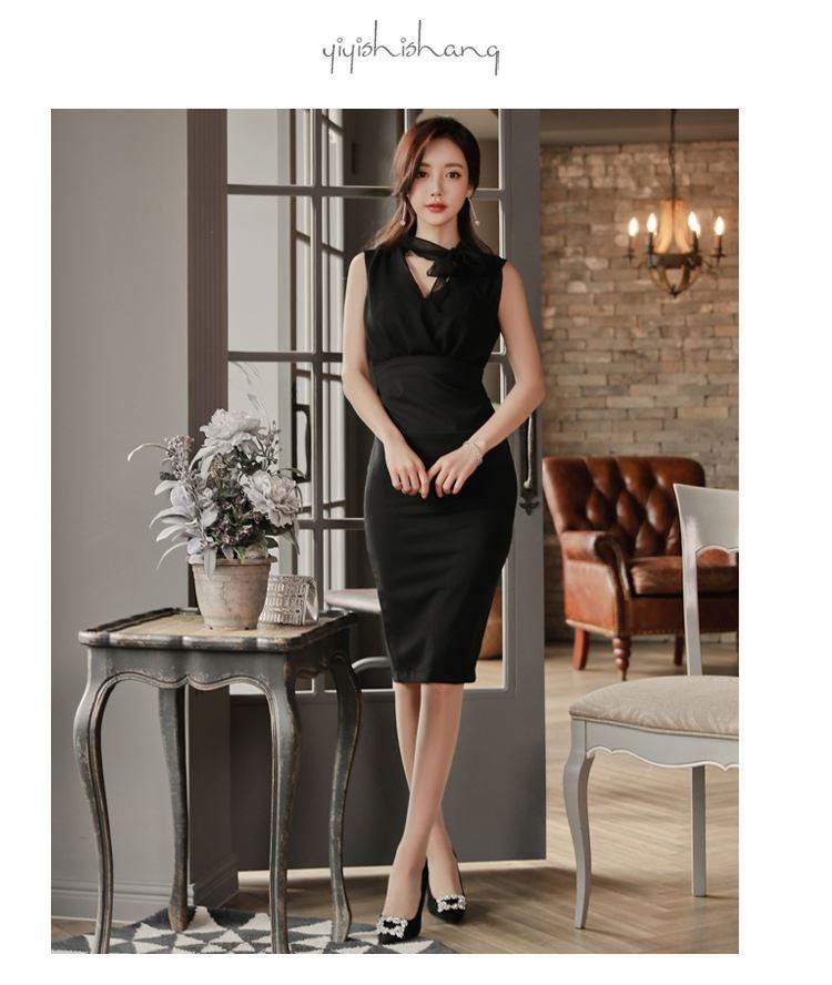 Black Bow Chiffon Dress
