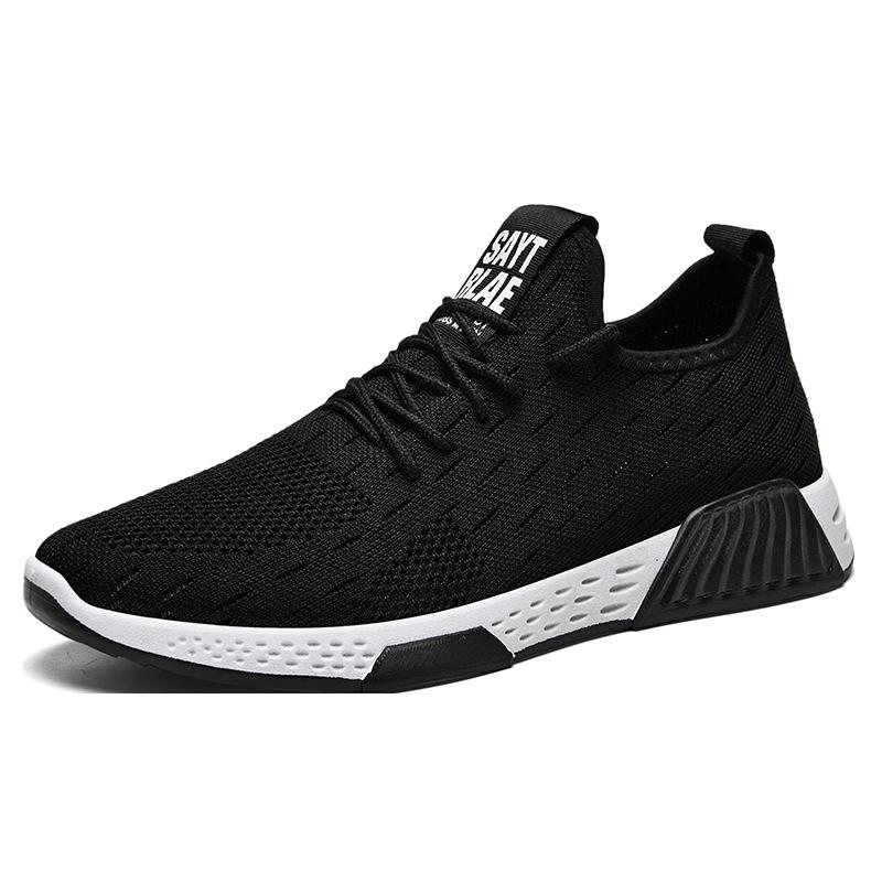 New Flying Weaving Sneaker Mens Shoes Loafers Black White Mens Sneakers Casual Flat Shoes Men Lace-up Man Sneakers Sports Shoes
