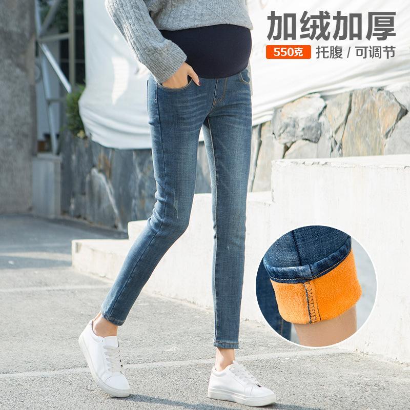 af1ff3d39554f 2019 Pregnant Women'S Winter Autumn Plus Velvet Adjustable Belt Denim Jeans  Pants Maternity Clothes Pregnancy Fleece Long Trousers From Singnice, ...