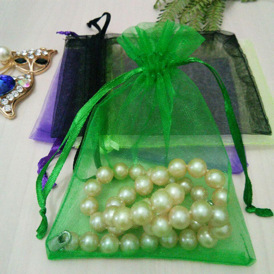 Plain Color Organza Bag Drawable Colors Drawstring Pouch Mesh Bag For Wedding Christmas Party Gift Jewelry Packaging Bag