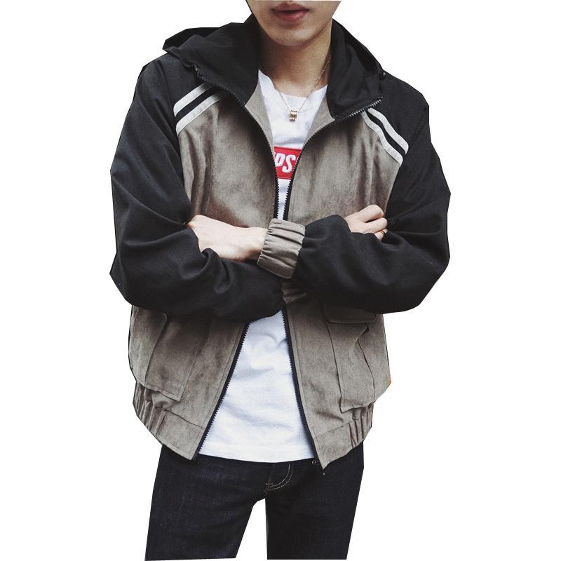 ed510b4d79 Giacche Bomber con cappuccio Giacche da uomo Uomo Hiphop Retro Giacca uomo  moda Giacche Cappotti Autunno Outwear ZM49
