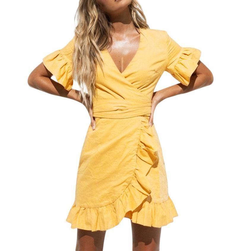 744a39021b42 Beach Sexy Dress Yellow Dress Loose Short Flare Sleeve Casual Sashes Solid  V Neck Ruffle Dress Vestido Verano Sundress Womens Lace Dress Casual From  Lemky