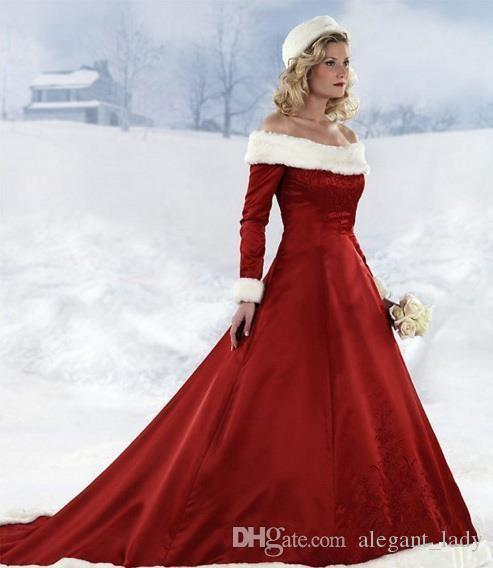 Long Sleeve Red Christmas Dresses Hot New Winter Fur Warm A-line Wedding Bride Dresses Off-shoulder Satin Floor-Length plus size