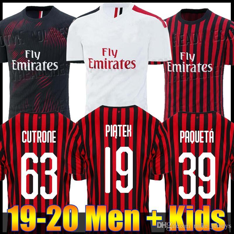 d5e0d2d676 Compre 19 20 Higuain AC Milan Piatek Camisas De Futebol Camisa De Futebol  Paqueta KESSIE Donnarumma Goleiro De Manga Longa Crianças 2019 CALHANOGLU  Cutrone ...