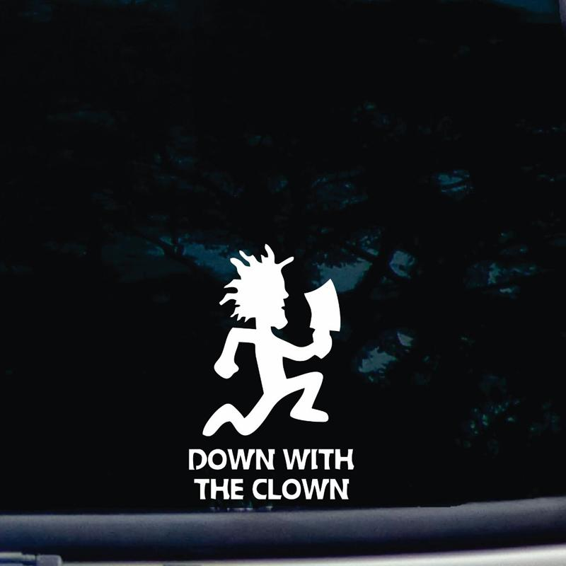 Down with the Clown die cut vinyl stickers decal for windows, tool boxes, laptops, noteBook 6'' tall white