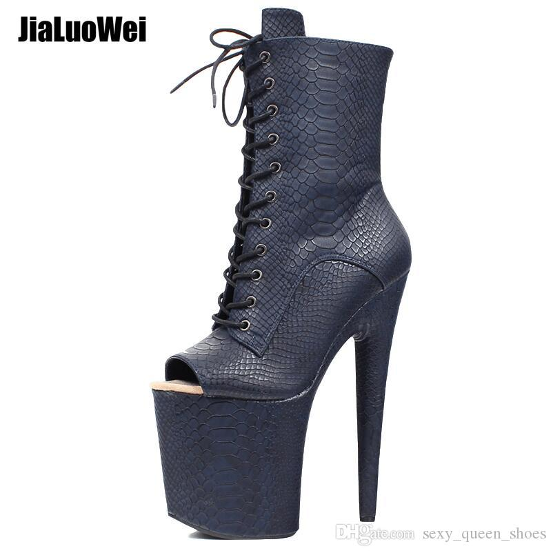 ebf2d5b286 Women Gothic Fetish Pole Erotic Dance Shoes Stripper Club Wear Sexy High  Heel Ankle Boots Platform Thick Sole Lace Up Peep Toes Short Boot High Heel  Shoes ...