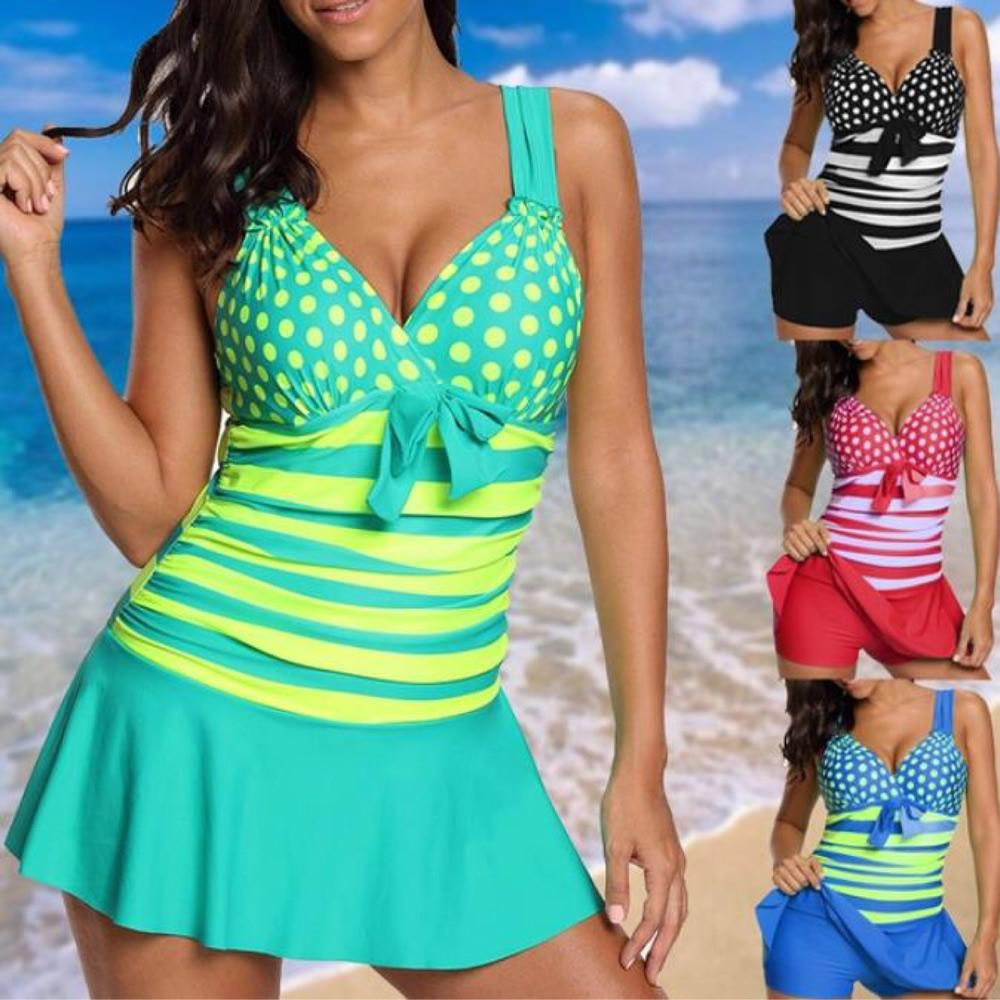 60d90e7f79 2019 2019 Women Sexy Swim Dress Neon Striped Cute Polka Dot Print One  Pieces V Neck Swimming Suits Plus Size XL To 5XL Bathing Suits From  Dh_sports_outdoors ...