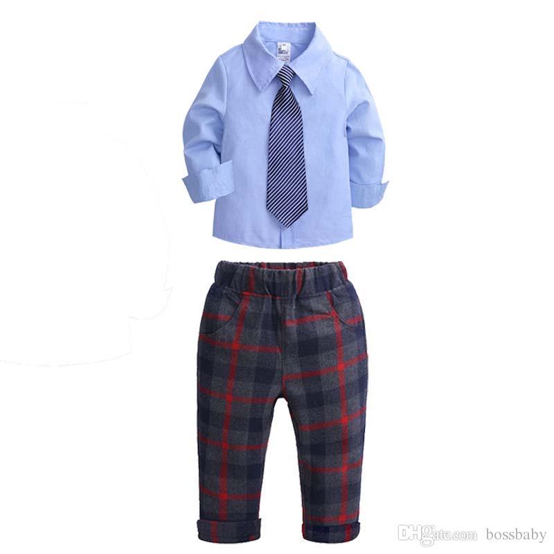 d5a6b9431d6a0d 2019 Kids Three Piece Suit Baby Boy Lattice Pants Sets Striped Tie Turndown  Collar Long Sleeve Shirt Lattice Elastic Waist Pants 6 From Bossbaby, ...