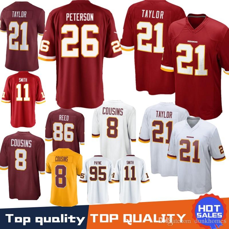 21 Sean Taylor Washington Redskins Jersey 11 Alex Smith 72 Eric Fisher 86  Reed 8 Kirk Cousins 29 Derrius Guice 95 Da Ron Payne Stitched Washington  Redskins ... e6727111c