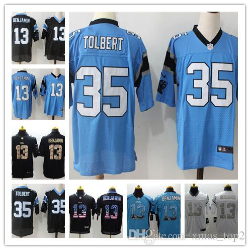 outlet store 6a28f 4c05c New Mens 13 Kelvin Benjamin Jersey Carolina Panthers Football Jerseys 100%  Stitched Embroidery 35 Harri Sateri Color Rush Football Shirt