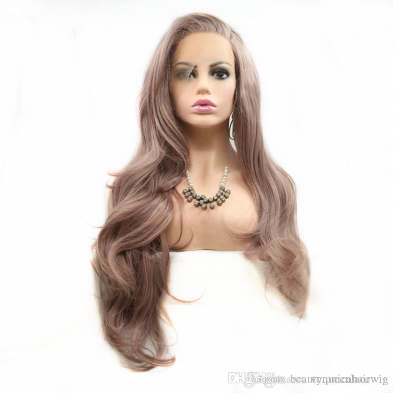 Mode Lange Haare Seitenscheitel Mischfarbe Rose Rosa Natürliche Wellenförmige Hitzebeständige Faser Für Frauen Synthetische Lace Front Perücken Für