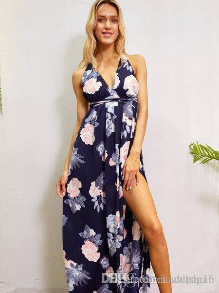 df503fa186 Women dress Summer Big V-neck Lace side Split lacing sleeveless Sexy back  Elegant Lady Flower print skirt Natural Waist Casual Loose Dresses