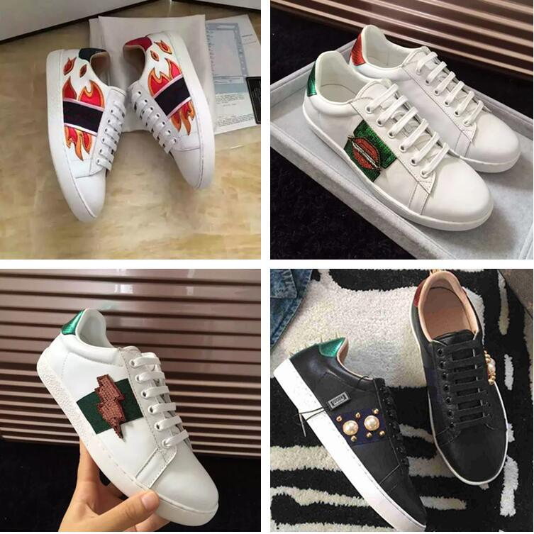 High Quality Man Woman Casual Shoes Fashion Designer Appliques Pearl White Cheap Sneaker Show Shoe With Box Size 35-44