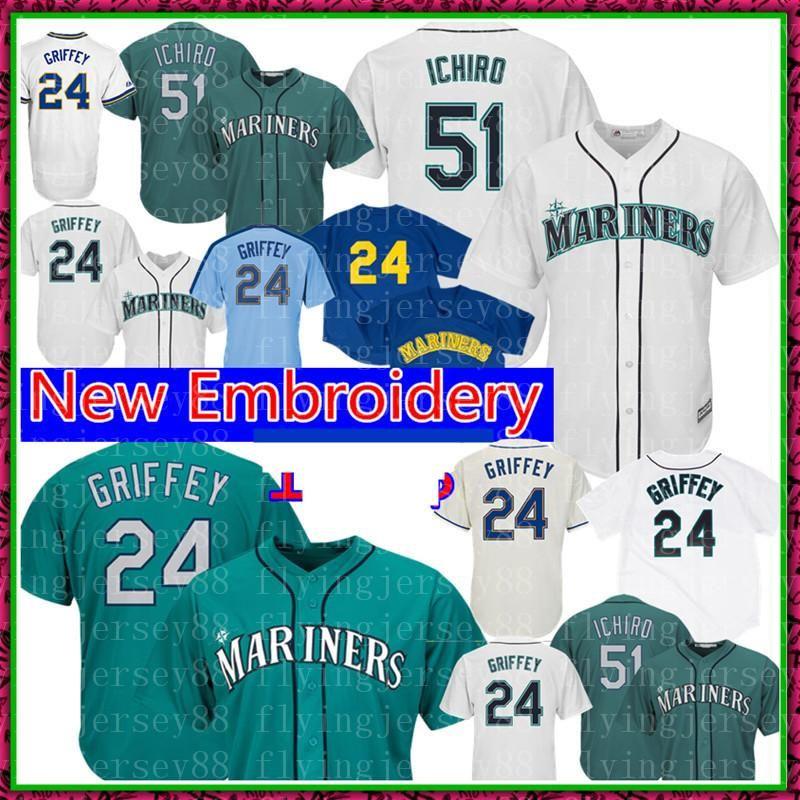 promo code 8c2ed 955a7 Seattle Ichiro Suzuki Mariners Jersey Cool Base White Green Jersey 24 Ken  Griffey Jr. Baseball Jerseys Retro FlexBase 51