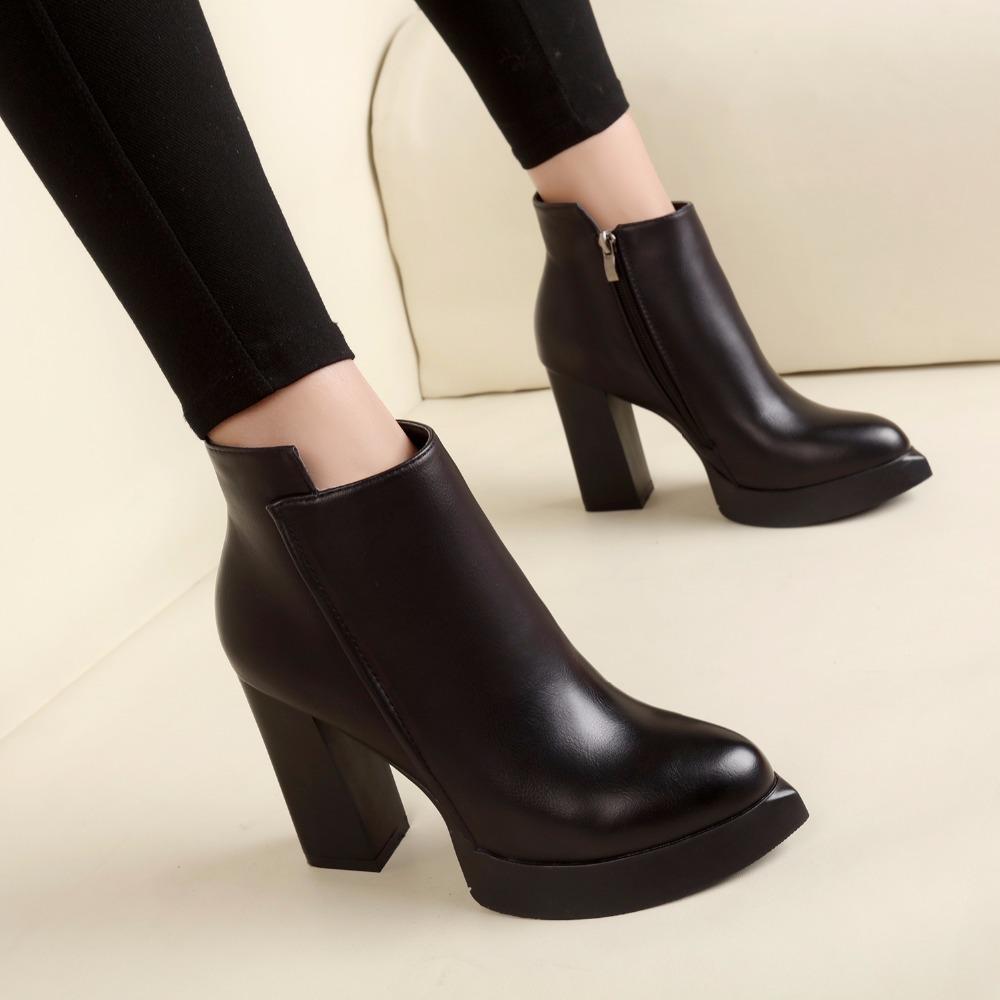 32195609 2018 Nuevas Mujeres Botines de Lluvia Botas de Otoño Liso Zapatos de Mujer  Vestido de Cremallera Zapato Formal Ol Tacones Altos Dama Negro Calzado