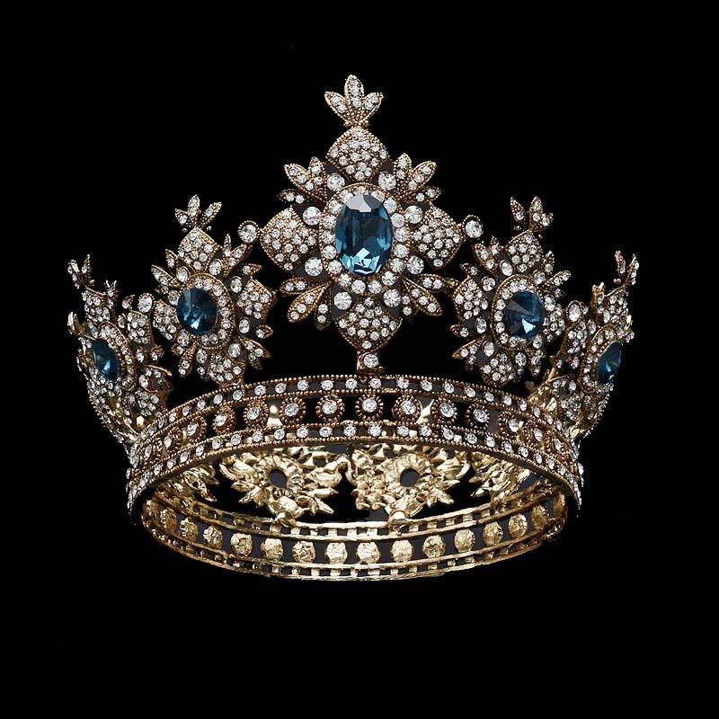 Dreamyn Gold Baroque Queen Crowns for Bride and Bridesmaid