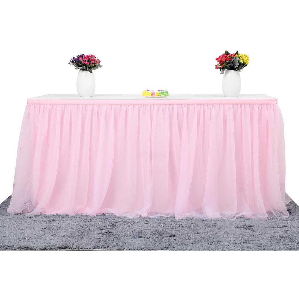 972a40224 Tabla de falda de varios colores vajilla de tela de boda tutu tul falda de  mesa fiesta de la ducha del bebé decoración del hogar bordeando fiesta de  ...