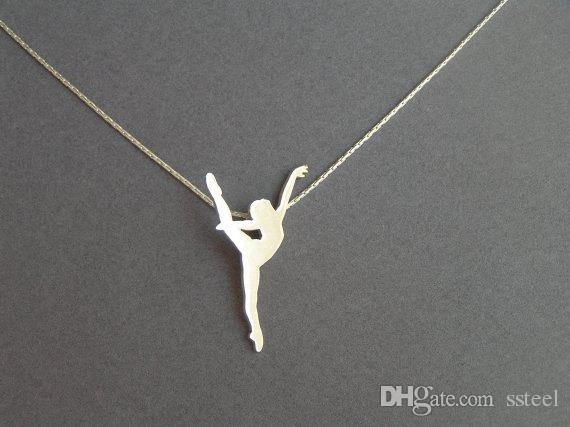10pcs Elegant Split Dancing Girl Pendant Necklace Body Sports Woman Figure Charm Chain Necklace Jewelry for Ladies