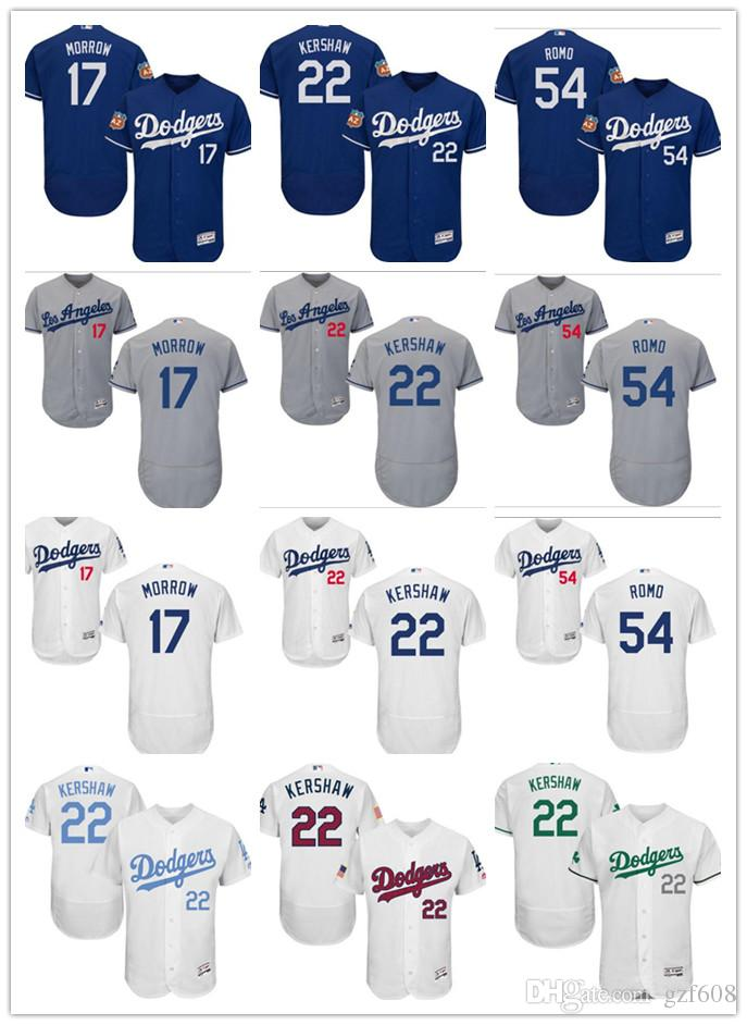 cef2f57aa custom Men s women youth Los Angeles Dodgers Jersey  17 Brandon Morrow 22  Clayton Kershaw 54 Sergio Romo Blue Grey White Baseball Jerseys