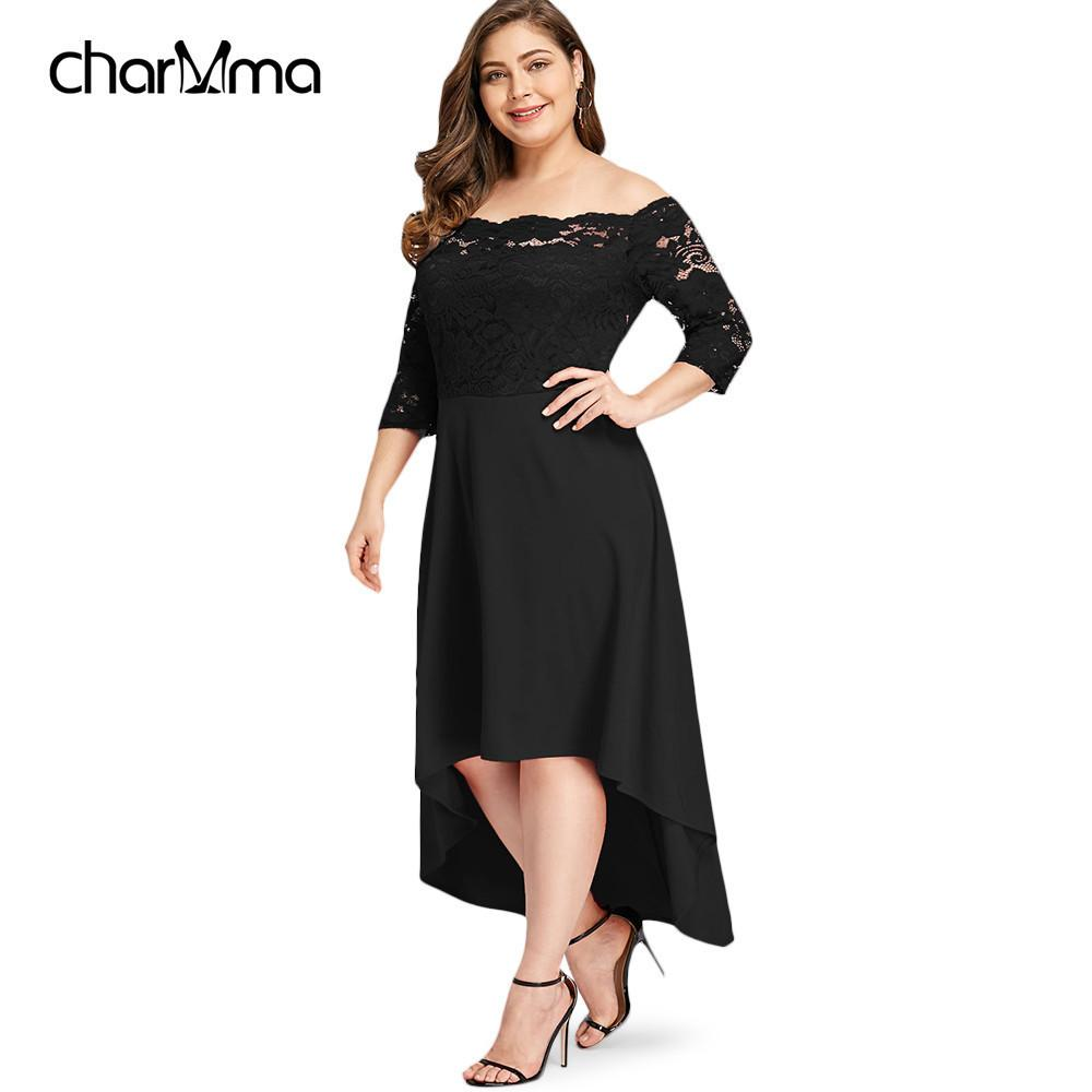3903bfbd21 2019 Summer Dress Plus Size Off Shoulder High Low Lace Dip Hem Party Long Dress  Women Elegant Dress Asymmetric Maxi Dresses Vestido Y19042401 From Huang03,  ...