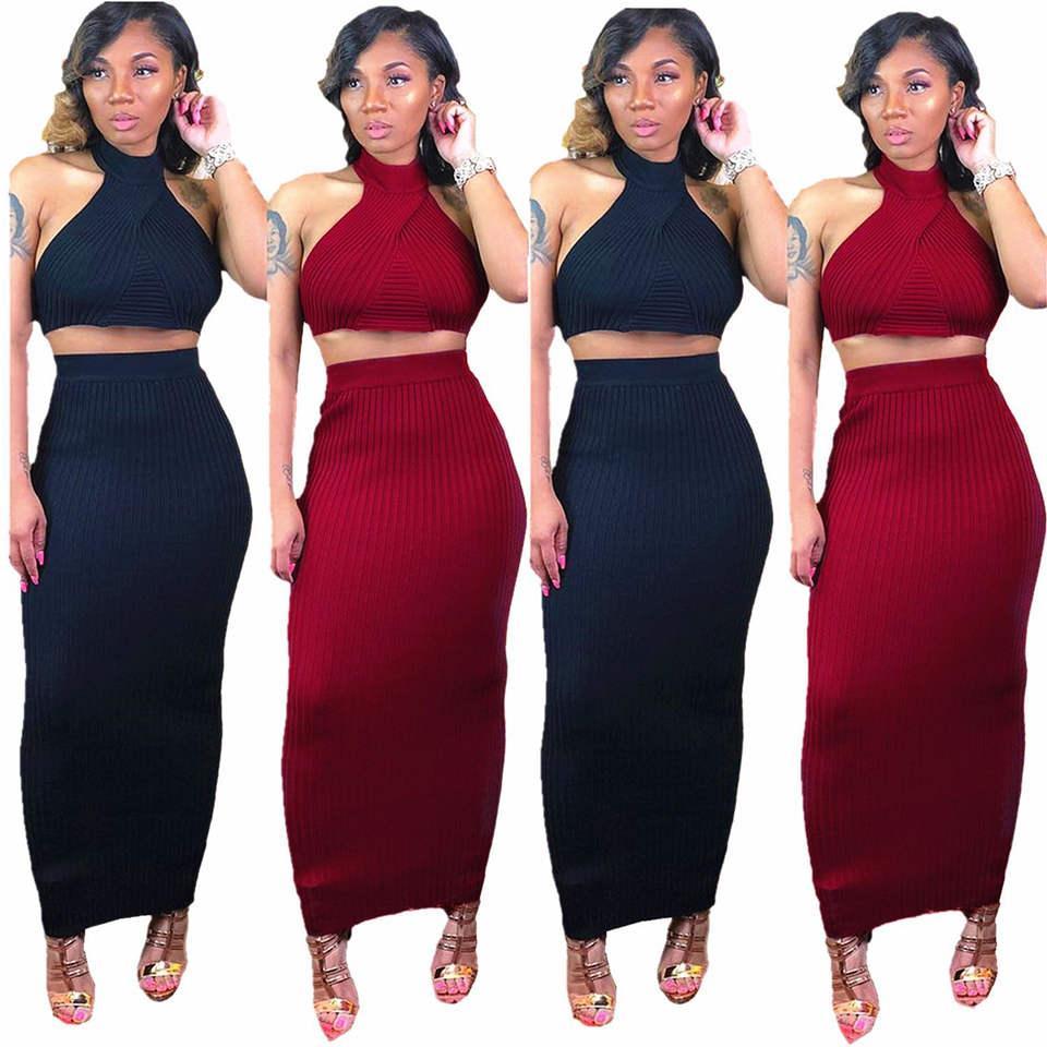 0290f2b150b666 2019 nouvelles femmes tenue tricotée sans manches crop top top maxi midi  jupes costume 2pcs ensemble sexy longue robe crayon deux pièces robes ...