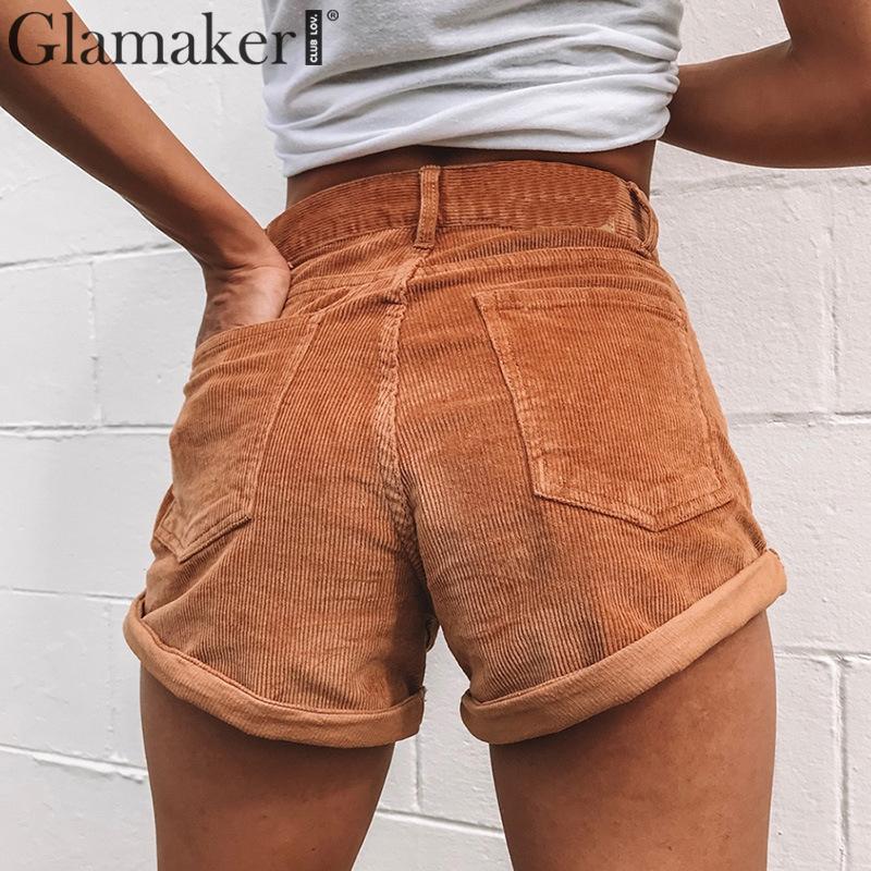 Alta Pantalones Mujeres Recta Cortos Bolsillos Glamaker Trabajo Ropa Femenina Para De Corduroy Verano Cintura Puños 3AjL4R5
