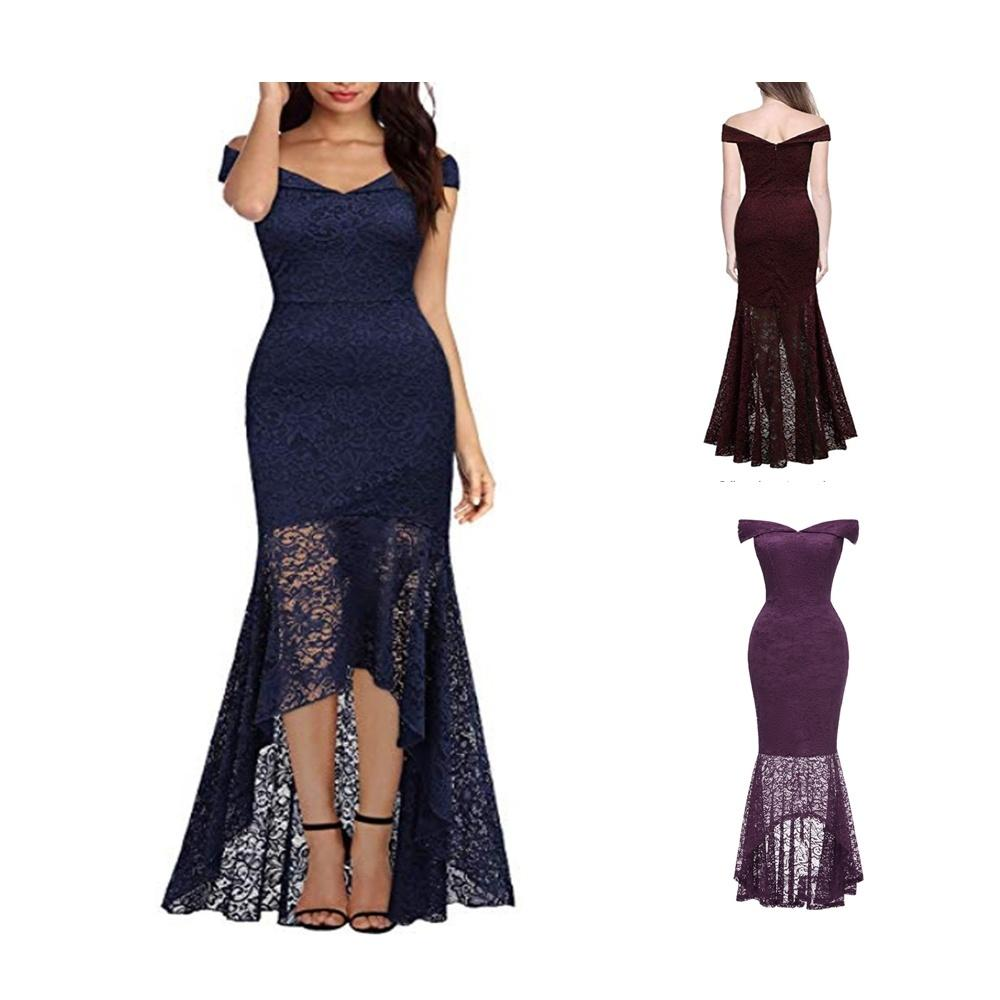 51d146c2b Compre Fuera Del Hombro Vestido De Noche Largo Para Mujer Nuevo Banquete  Noble Elegante Sexy Cola Larga Vestidos Falda A  22.12 Del Gogoyoung