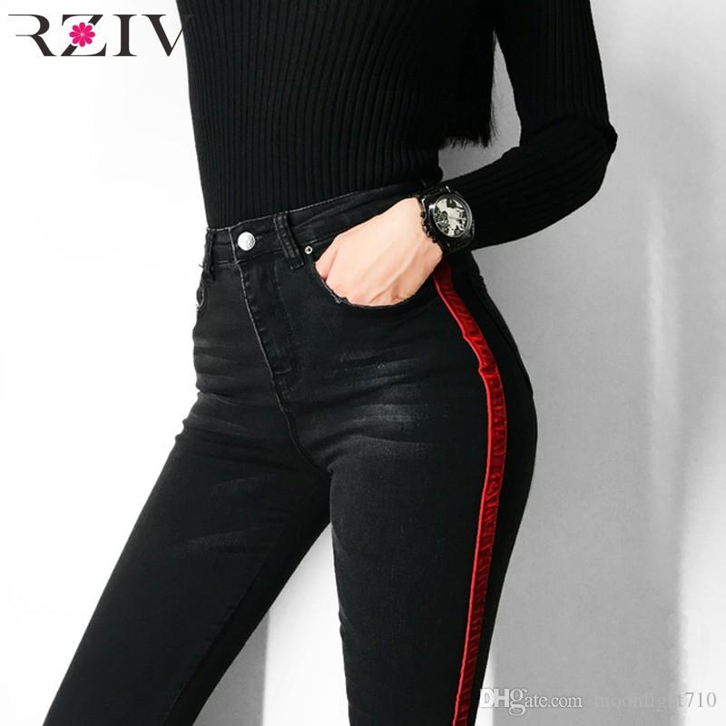 35d3083e1f 2018 RZIV Jeans Woman Casual Stretch Denim Solid Color Stitching Waist  Black Jeans And Skinny Jeans Trouser From Moonlight710, $45.18 | DHgate.Com