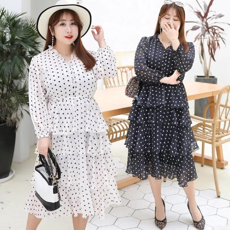 Ubetoku 2019New Arrival women spring chiffon dress sweet dot print ruffles  tiered dress plus size women clothing(qun151)