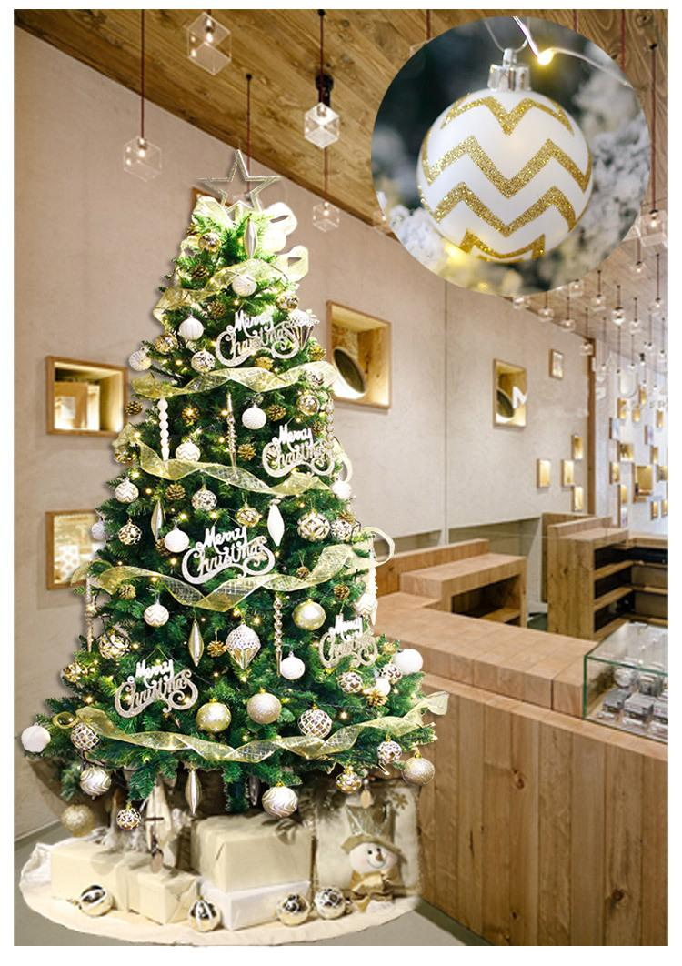 Christmas Ball Christmas Decorations White Gold Barrel Painted Ball 6cm Tree Ornaments Supplies Balls