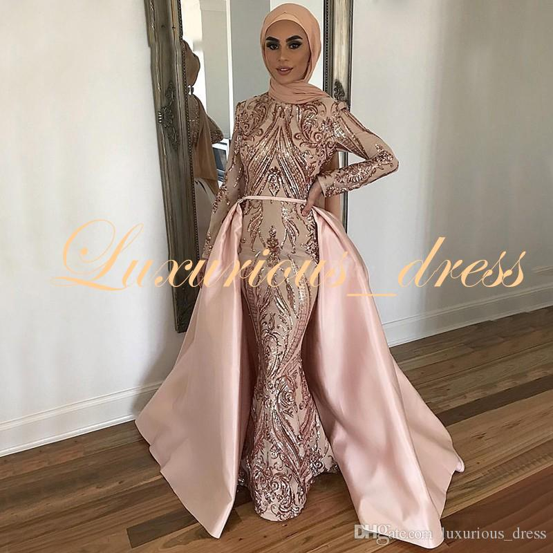 Rose Gold Sequined Mermaid Muslim Evening Gowns with Detachable Train Long Sleeves Arabic Pink Dubai Formal Prom Dresses 2019