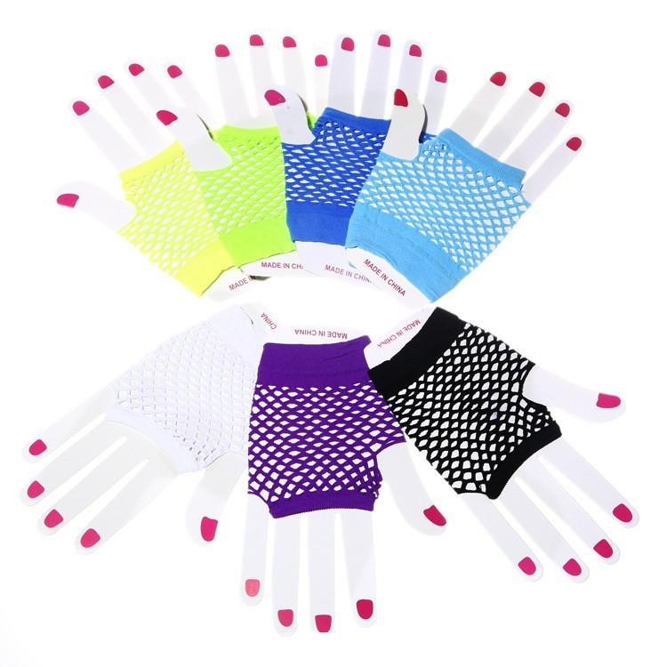 06627a190a High Quality Neon Short Fishnet Gloves Fish Nets Black Fancy Party Dance  Club Nylon Spandex Mesh Short Gloves 500pair T1C434