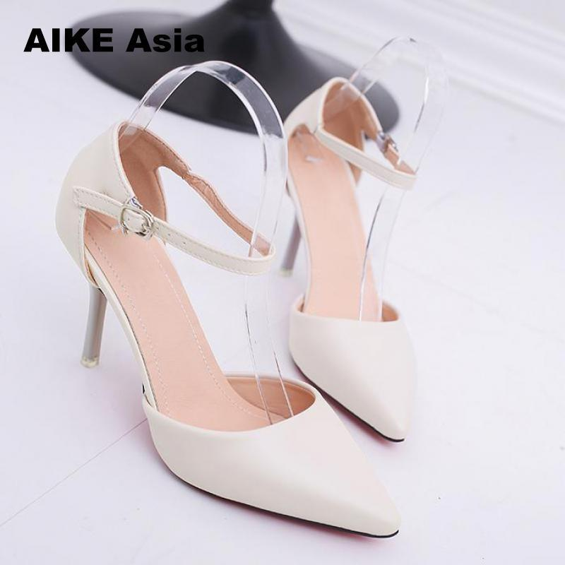 a661e6da442 2019 Dress Plus Size 32 42 Women S Pumps Pointed Toe Patent Leather High  Heels Sexy Ankle Strap Ladies Party Wedding Shoes Silver Red Beige Prom  Shoes ...
