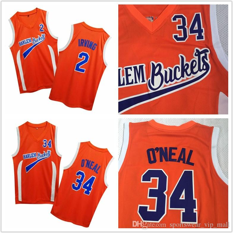 sports shoes 55dba 95cba Uncle Drew Costume #2 Kyrie Irving Jersey Harlem Buckets Movie Film Orange  Mens Stitched #34 Shaquille O Neal Basketball Jerseys ONea Shirts