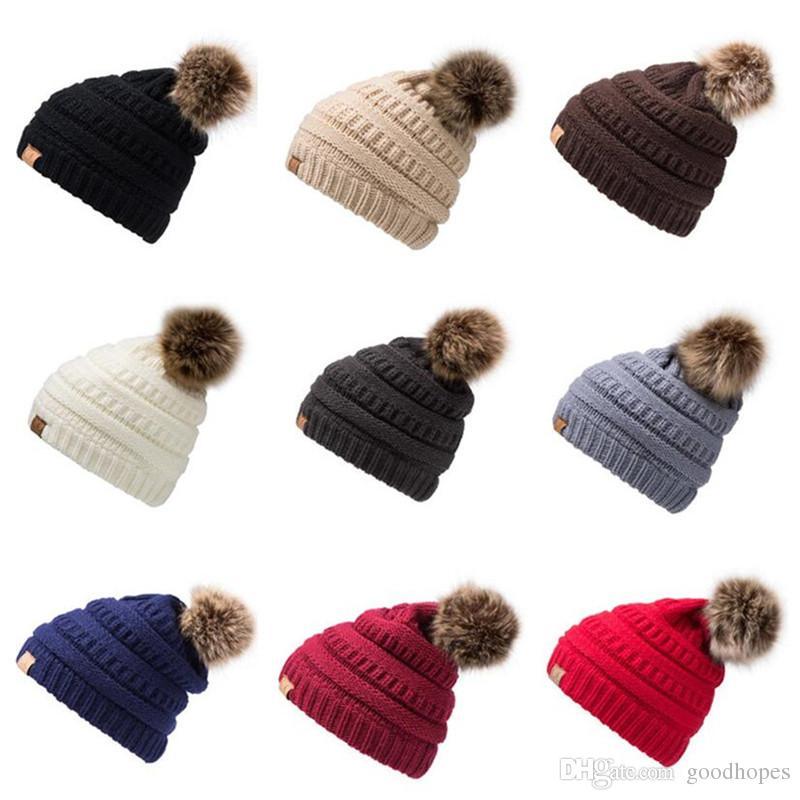 972a1fc5977 Fashion Women Winter Warm Hat Knitted Fur Poms Beanie Unisex Trendy ...