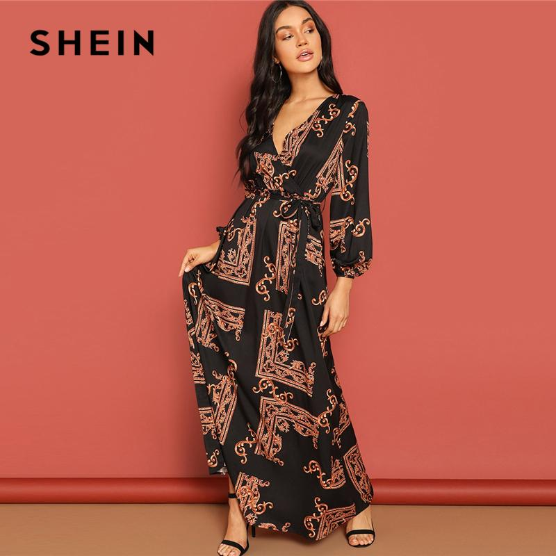 14180be888 SHEIN Multicolor Scarf Print Belted Maxi Wrap Dress V Neck Long Sleeve Fit  And Flare A Line Dress 2019 Women Spring Dresses Beaded Dresses Ball Dress  From ...