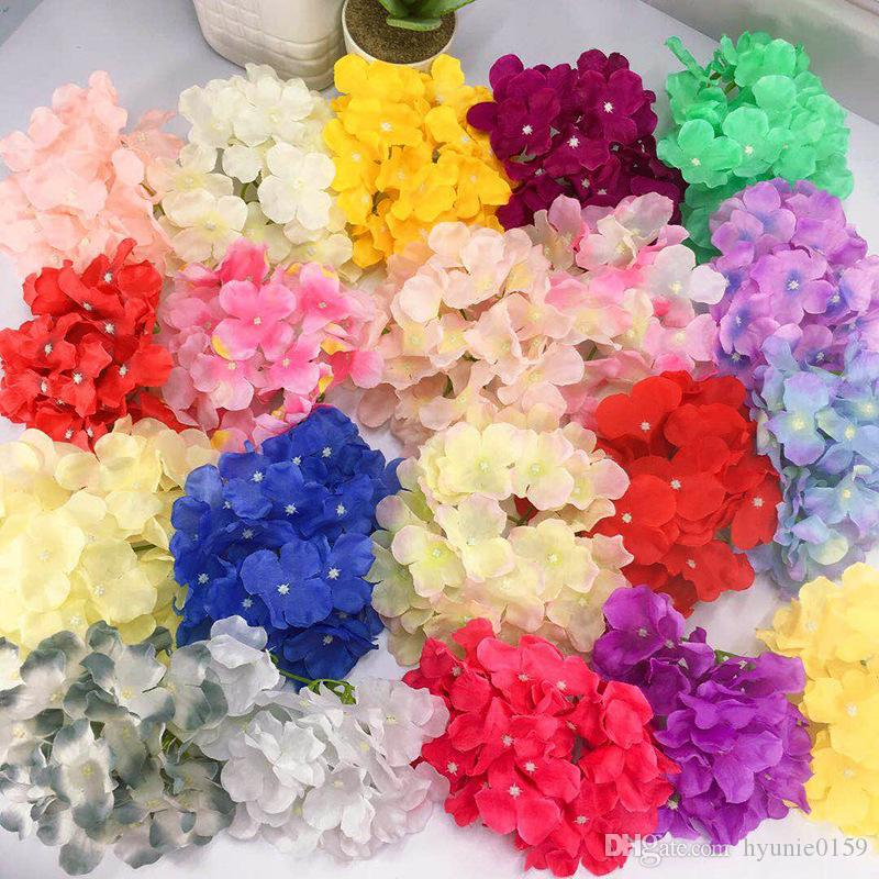 NEW 100pcs 21Colors 18cm artificial hydrangea flower heads diy wedding bouquet flowers head wreath garland home decoration ybml02