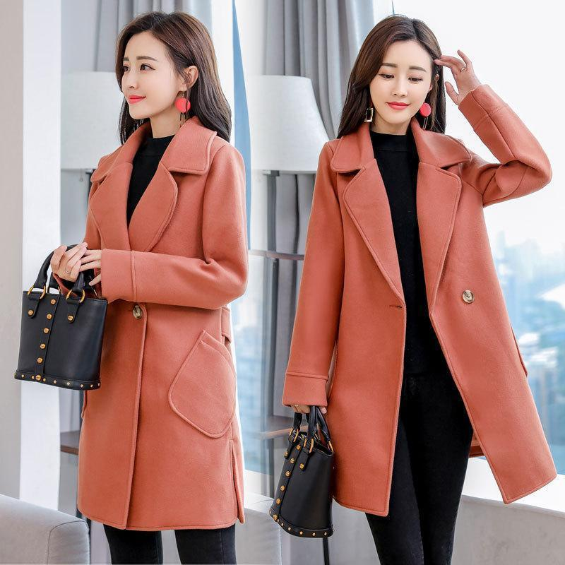 9b9bd538fe07 2019 Office Lady Slim Womens Long Coats Nice Winter Turn Down Collar Wool  Blend Coat And Jacket Single Button Ladies Coats From Tallahassed9, ...