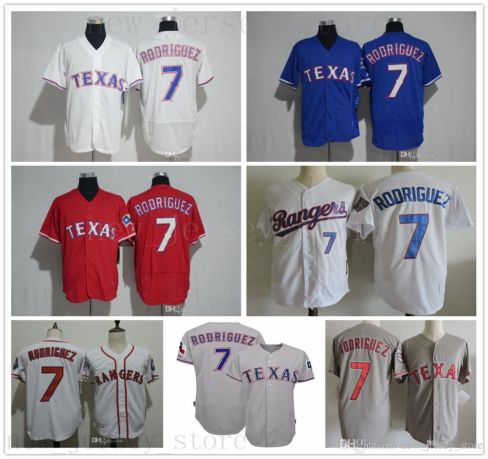 new product 4d65c 1c975 Cosido Vintage 7 Ivan Pudge Rodriguez Jersey Hombres 2017 Salón de la Fama  Texas Baseball Jerseys Rangers Ivan Rodriguez Camisas Jersey