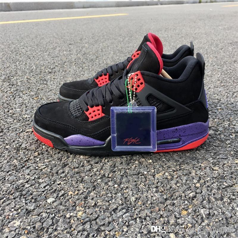 best authentic 64449 768f7 Air NRG 4 Raptor Retro 2018 Black Court Purple aq3816-065 4s Suede IV Men  Basketball Shoes Sports Sneakers Outdoor With Original Box