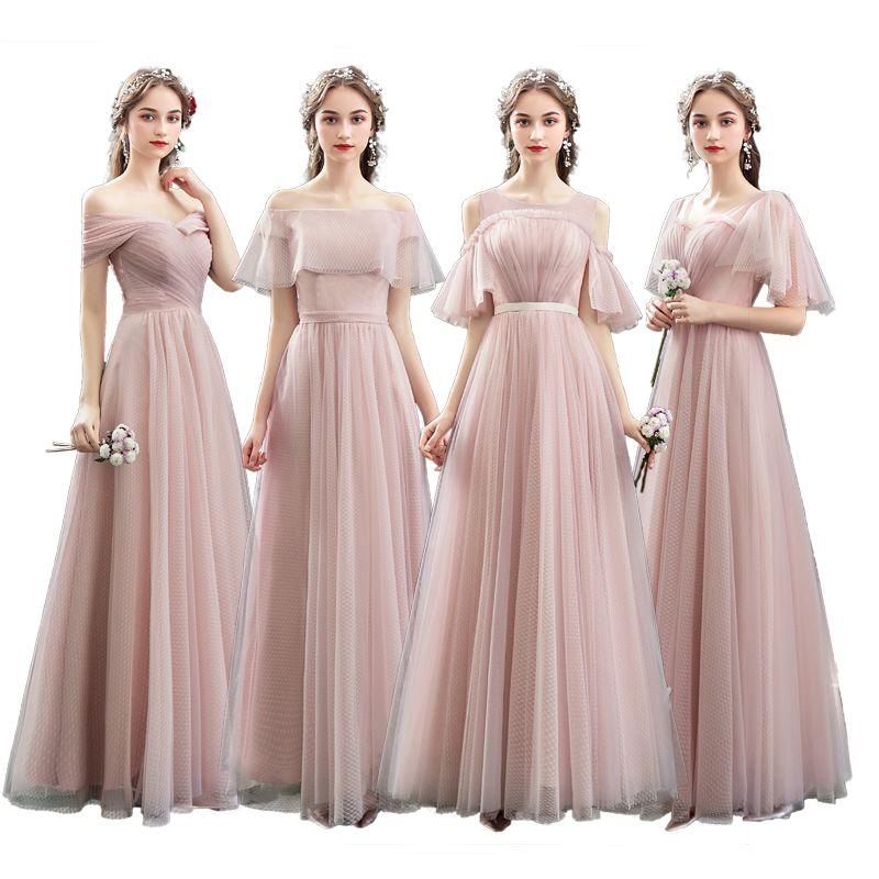 9ad3b1ec8 Vestidos largos de dama de honor Elegante color rosa fuera del hombro  Vestido de fiesta de bodas de la dama de honor de Bohemia Maid of Honor  Vestidos ...