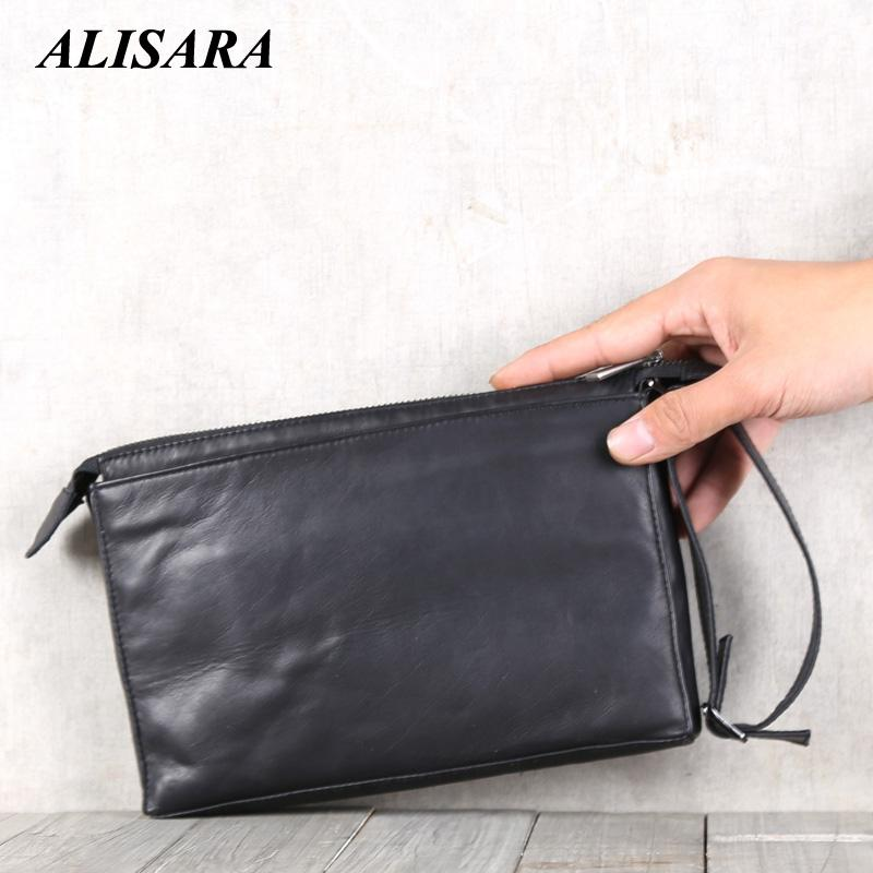 New Business Clutch Wallet Men Genuine Leather Handmade Wrist Money Bag Top-end Cowhide Phone Purse Wallets Cigarette Card Case