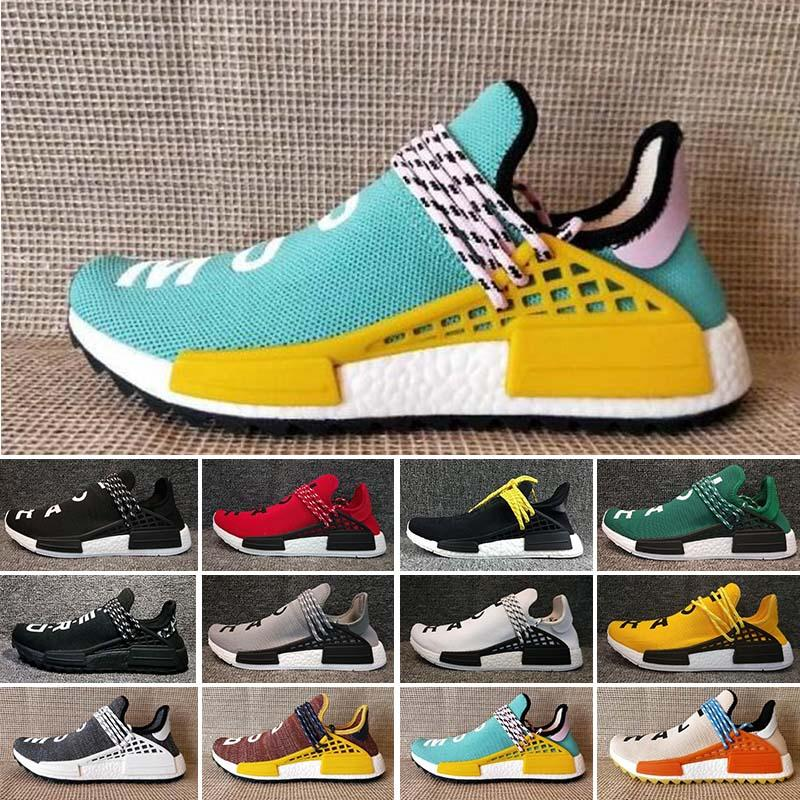 294f4b147 2019 2018 HumanRace Creme X PW HU NERD Solar Pack Running Shoes Pharrell  Williams Afro Hu Trail Equality Women Mens Trainers Sneakers Size 36 46  From ...