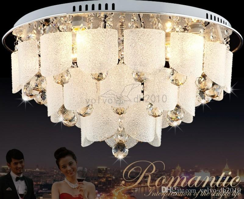 Led Crystal Ceiling Lamp Round Modern Minimalist Master Bedroom Lamp Warm Romantic Room Lamp Restaurant Lighting Ceiling Lights