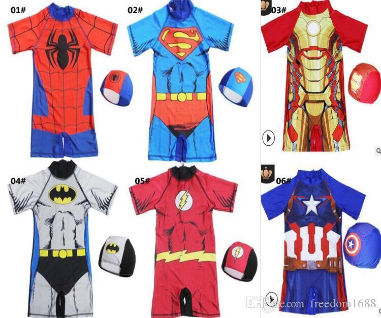84b481cd9f 2019 Baby Boys One Piece Swimsuit With Cap Spiderman Captain America ...